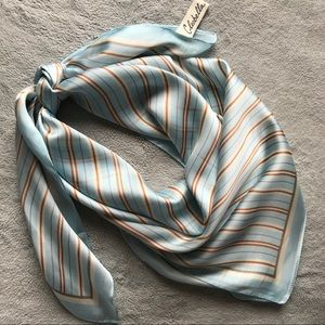 Cleobella Vegan Silk Square Scarf Striped Sky Blue